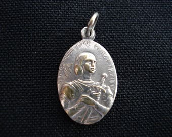 religious French catholic silvered medal pendant of Saint Jeanne d'Arc Joan of Arc with sword and  N. D. de Bonsecours. ( 12 )