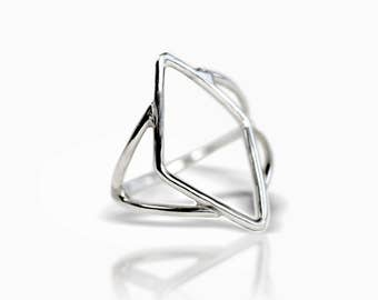 Deco Open Weave Ring - Stacking Ring - Sterling Silver Ring - Silver Ring - Deco Ring - Gold Ring - Art Deco Ring - Silver Stacking Ring