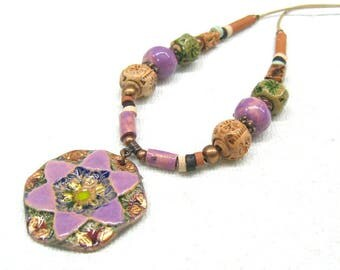 Sisters gift from brother hexagon pendant necklace hand painted ceramic tile charm Lilac necklace Ukrainian folk art jewelry ethnic necklace