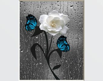 Blue Bathroom Decor, Powder Room, Modern Floral Butterfly Blue Gray Home  Decor Matted Picture