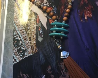 Longated Turquoise Beaded long Necklaces