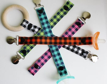 Buffalo Checked Paci-Catchers | Checkered Pacifier Clip | Plaid Binky Leash