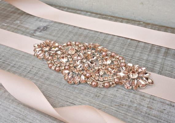 Rose Gold Bridal Sash Belt