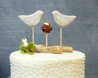 Gold Shower Cake Topper or Wedding Cake Topper with Gold, Baby Cake Topper, Wedding Keepsake,  Love Birds Topper with Baby