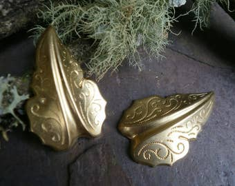 Raw Brass Stamping Medium Size Leaf Pair Right and Left