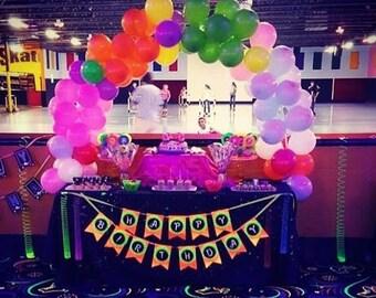 Glow Party Fluorescent happy birthday banner