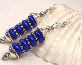 Navy Blue Earrings, Blue Stone Dangle Drops, Dark Blue & Antique Silver Earrings, Rich Blue Dangles, Stone Earrings, Gifts For Her (E764)