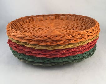 """Set of 7 Retro Wicker Paper Plate Holders, 4 Colors, 10"""" Edge to Edge, Bright Color Paper Plate Holders, Picnic Paper Plate Holders"""
