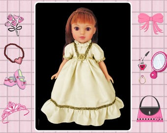 14 inch doll gold party holiday dress / Mine to Love 14 / Wellie Wishers / Corolle les Cheries / Hearts 4 Hearts / My 1st Disney Princess