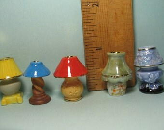 Tiny Vintage LAMPS Mid Century Retro Antique Table LAMP Lights   French  Feve Feves Porcelain Doll