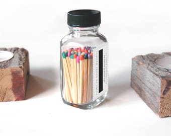 Rainbow Square Jar Matches. Fancy Party Matches. Strike on Jar. Multicolor Candle Matchsticks in Glass Container. Decorative Match Bottle.