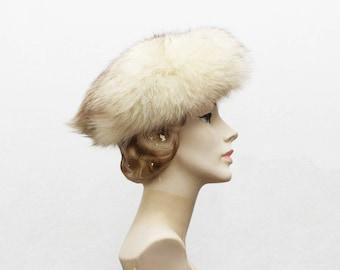 60s White Fox Fur Hat - Vintage 1960s Genuine Fur Hat
