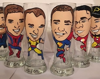 Unique Personalized Hand Painted Caricature on Beer Glass