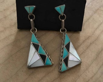 Beautiful Detailed Vintage Navajo Sterling Earrings