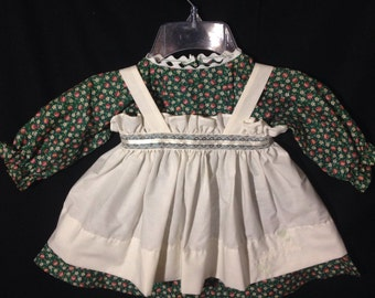 Dress and Apron for 30 INCH Raggedy Ann Doll;Green dress with flowers, embroidered apron, Ribbon and Lace trim at the waistband;doll clothes