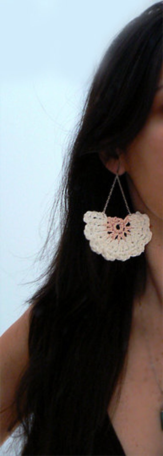 Chandelier white lace crochet earrings. Boho flower earrings. Crochet jewelry. Fiber art crochet earrings. Women crochet earrings gift