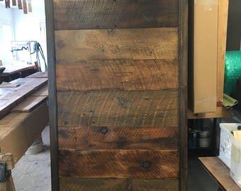 Sliding barn door, hanging door, reclaimed wood