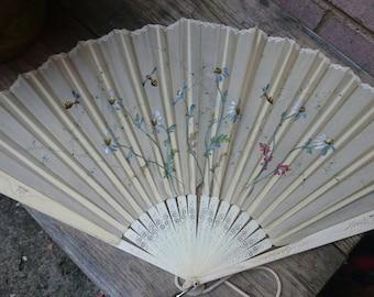 Antique silk handpainted fan