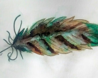Feather original watercolor painting by Erin Fortin (non-standard dimensions demo art deal)