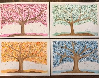 Set of 4 Seasons, Original Watercolor, Spring, Summer, Fall, Winter, Seasons, Autumn, Home Decor, Paintings
