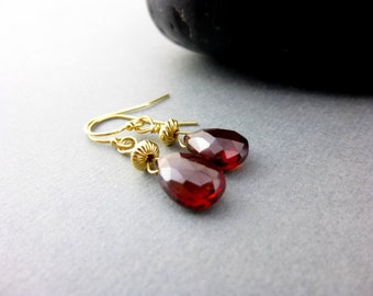 Garnet and 14K Gold Filled Chakra Earrings, AAA Mozambique Garnet, January Birthstone, Red Gemstones, Healing Crystals Jewelry