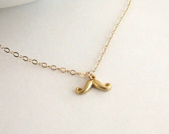 Tiny Gold Mustache Necklace, Mustache Jewelry, Dainty Necklace, Tiny Gold Necklace, Charm Necklace - 14k Gold Fill Chain