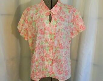 Vintage blouse Pink flower cotton blouse summer flower blouse Westbound flower blouse Size XL