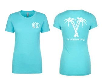 Monogram short sleeve tee, spring break shirt, monogram tees for women, vacation shirt, graphic shirts for women, monogram shirts for women