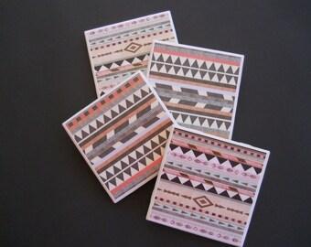 Aztec Coasters ~ Southwestern Decor ~ Ceramic Tile Coasters ~ Drink Coasters ~ Shower Gift ~ Housewarming Gift ~ Coaster Set ~ Bar Coasters