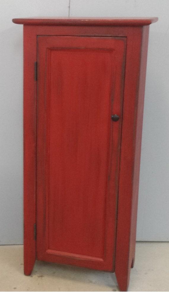 Red Hutch / Distressed Cabinet / Kitchen Storage / Primitive