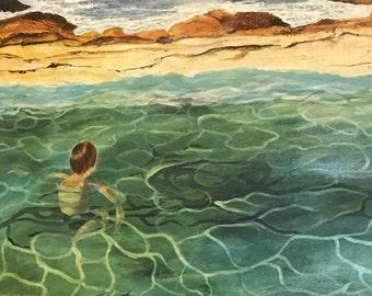 Lagoon abstract painting