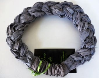 "Gray/Platinum Sari Silk Braided headband is a lovely upcycled hair accessory - ""jewelry for the hair""."