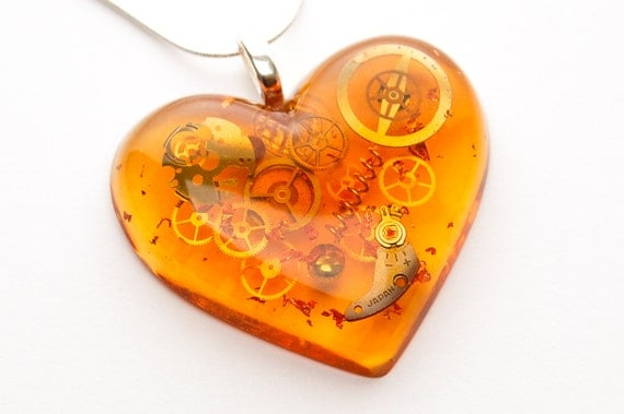 Steampunk Faux Amber Heart Pendant / Necklace, Watch Parts in Resin, Sterling Silver Chain