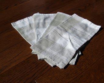 upcycled cloth napkins, reusable napkins, eco friendly, zero waste, cotton napkins,  4pk