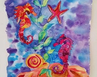 Seahorse watercolor painting, Seahorses, original watercolor painting