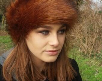 Beautiful Bronze Faux Fur Headband / Neckwarmer / Earwarmer Handmade in Lancashire England