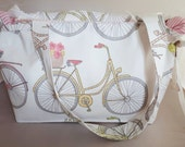 Handmade, Bicycles Print Side-tie Holdall, Padded, Lined Pink Candy Stripe, Double Pockets, Shoulder Straps, Chrome Metal Zip Pull End Stop