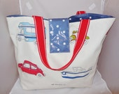 Beach Bag, Waterproof, Reversible, Boats, Cars, Camper Vans, Blue White Spot Vinyl, Zip Pocket, Shoulder Tote, Holiday, Day Out, Red Straps