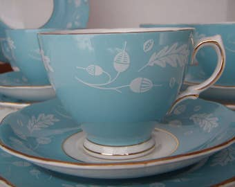 English Tea Set Colclough Blue Acorns and Oak Leaves Gold Trim 1960's