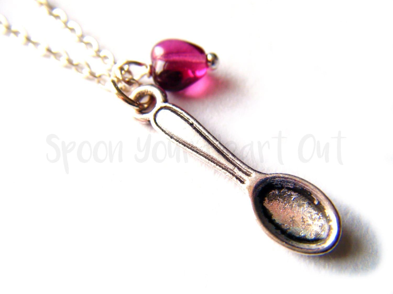 spare spoon spoonie necklace spoon fuchsia pink