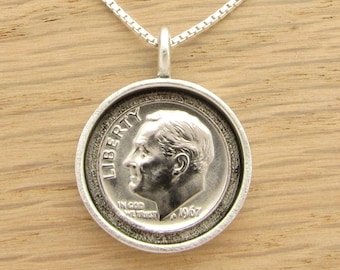 1946 to 1967 US Dime Shadow Box Necklace - You Choose Year Birthday or Anniversary Gift