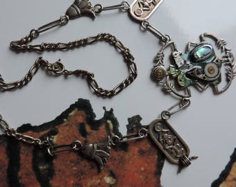 "Steampunk, vintage jewelry. Silver Egyptian ""Scarab"" necklace."