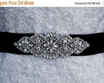 Beaded Sash , Black Beaded Belt ,  Wedding Sash Belt , Bridal Belt , Bridal Sash , Prom Belt Sash , Crystal Beaded Applique