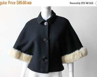 ON SALE Vintage 1950s Lilllie Rubin Wool and Mink Party Jacket