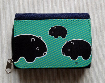 Wallet Purse Jeans Denim Card Holder Cash Coin Pocket Travel Snaps Debit Credit Photo Holder Zip Wombat