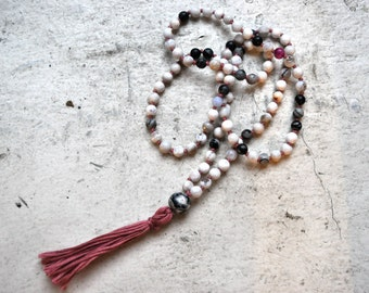 multicolored agate + rose tassel mala beads