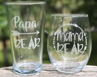 Mama Bear Glass, Personalized  Glasses, Engraved Wine Glass, Engraved Beer Mug, Papa Bear Glass
