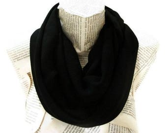 Black infinity Scarf, Chiffon Lightweight Soft,Tube Scarf, Black Women Accessories, Fashion Scarves