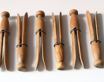 Vintage Wooden Clothes Pegs Clothespin Set