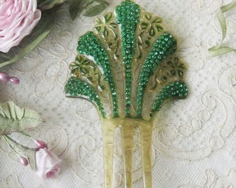 Lovely Antique Celluloid Hair Comb - Emerald Green Rhinestones